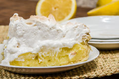 Slice of lemon meringue pie Stock Images
