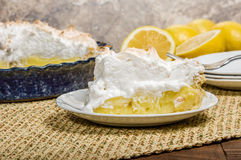 Slice of lemon meringue pie Royalty Free Stock Images