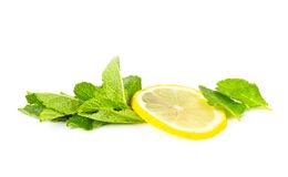 Slice of lemon with mint on white Royalty Free Stock Image