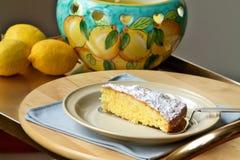 Slice of lemon pie traditional of Capri. Slice of lemon cake traditional of Capri Stock Photo