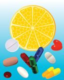Slice lemon and pills. Stock Photography