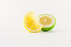 Slice of lemons. Slice of fresh lemon yellow on white background Stock Image