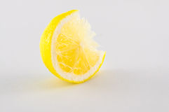 Slice of lemons. Slice of fresh lemon yellow on white background Stock Photography