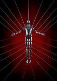 Slice of life. Conceptual 3D render of dissected male figure suspended by metal wires Stock Photo