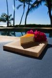 Slice of lilikoi cheesecake on a beautiful Hawaiian day. Slice of lilikoi cheesecake by the poolside stock image