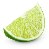 Slice of lime citrus fruit isolated on white Stock Photography