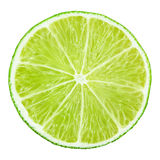 Slice of lime citrus fruit on white Royalty Free Stock Photography
