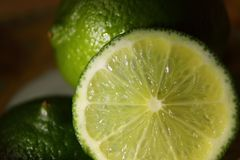 Slice of lime closeup Royalty Free Stock Image
