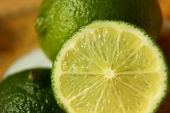 Slice of lime closeup Royalty Free Stock Photography
