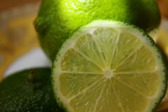 Slice of lime closeup Stock Images