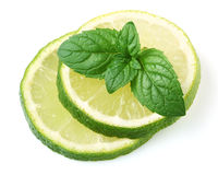 Slice of lime with mint Royalty Free Stock Image