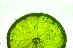 Slice of lime with water drops Stock Photography
