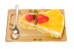 Slice Of Mango Cake Stock Photos