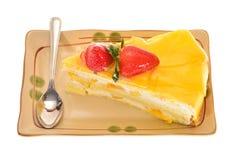 Slice Of Mango Cake Stock Photos