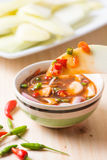 Slice mango in sweet fish sauce Stock Image