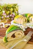 Slice of Mardi Gras King Cake stock photos
