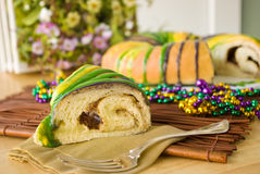 Slice of Mardi Gras King Cake Royalty Free Stock Image