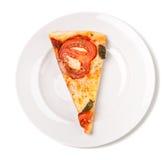 Slice of margarita pizza royalty free stock photography