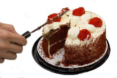 Slice me a piece. Picture of a delicious red velvet cake Royalty Free Stock Photography