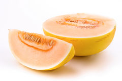 Slice of melon half cut on white Stock Photos