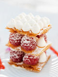 Slice of mille-feuille cake with raspberries Royalty Free Stock Image