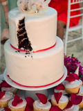 Slice Missing from Wedding Cake Royalty Free Stock Photography