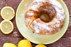 Bundt lemon cake Royalty Free Stock Photos