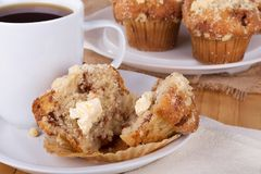 Slice Muffin with Coffee Stock Images