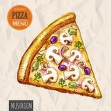 A slice of mushroom pizza Stock Photo