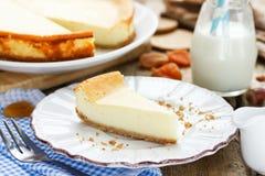 Slice of New York Cheesecake. On plate stock image