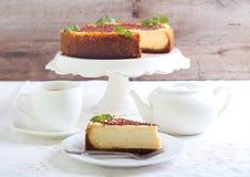 Slice of New York cheesecake Stock Photos