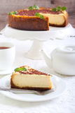 Slice of New York cheesecake Royalty Free Stock Images