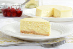 Slice of new york style cheesecake Royalty Free Stock Photos
