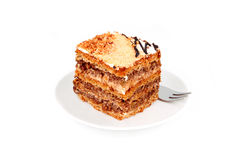Slice of nut cream cake Royalty Free Stock Image