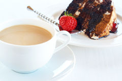 Slice Of Black Forest Cake And Coffee Stock Photo