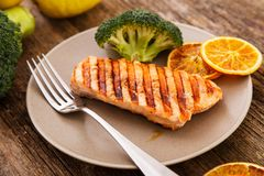 Slice Of Grilled Salmon Stock Photography