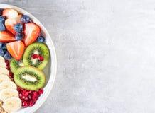 Slice Of Kiwi, Banana, Strawberries And Blueberries, Fruit Salad On Plate Stock Photos