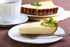 Slice Of Lemon Cheesecake Royalty Free Stock Image