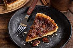 Free Slice Of Pecan Tart Stock Photography - 201240672