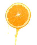 Slice of an orange. With juice stock images