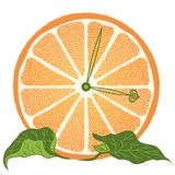 Slice of orange as clock Royalty Free Stock Photos