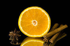 Slice of orange and cinnamon and star anise Royalty Free Stock Image