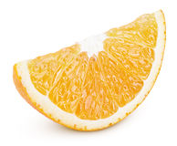 Slice of orange citrus fruit isolated on white Stock Photos