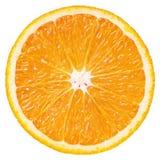 Slice of orange citrus fruit isolated on white. Top view of ripe slice orange citrus fruit isolated on white background with clipping path royalty free stock photo