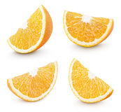 Slice of orange citrus fruit on white Stock Photo