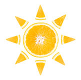 Slice of orange in the form of sun. On white background royalty free stock photography