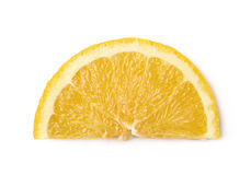 Slice of an orange fruit isolated Stock Images