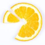 Slice of orange. fruit pie chart. Slice of orange on white background. fruit pie chart stock images