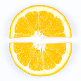 Slice of orange. fruit pie chart. Slice of orange on white background. fruit pie chart royalty free stock photo