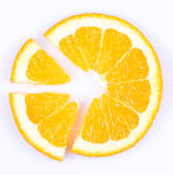 Slice of orange. fruit pie chart. Slice of orange on white background. fruit pie chart royalty free stock photos